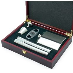 Byrne Flask and Cigar Set