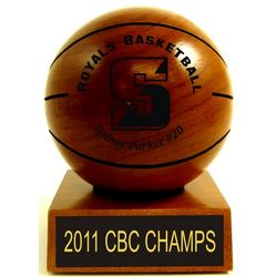 "3.5"" Personalized Wood Basketball Trophy"