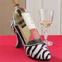 Monogrammed Zebra Striped Shoe Wine Holder