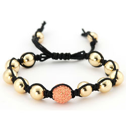Shamballa Inspired Gold and Coral Bead Bracelet