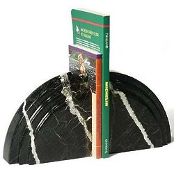 Black Marble Arc Bookends
