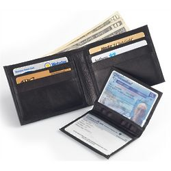 Soft Leather Bifold Wallet with Transparent Dual ID Holder