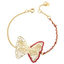 Engraved Gold-Plated Butterfly Bracelet