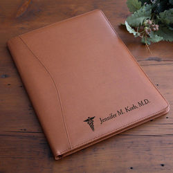Personalized Medical Notes Tan Leather Portfolio