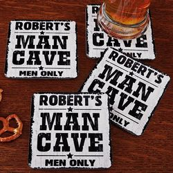 Personalized Man Cave Men Only Coasters