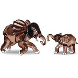 A Loving Hand to Hold Art Glass Mother and Calf Elephants