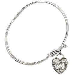 """5.75"""" Rhodium Plated Bangle Bracelet with Confirmation Heart"""
