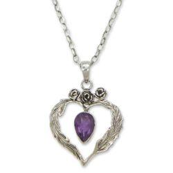 Valentine Rose Amethyst Pendant Necklace