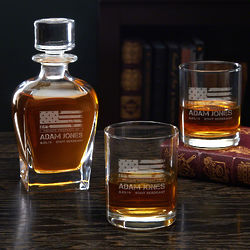 American Heroes Personalized Decanter and Emerson Rocks Glasses