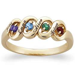 Ribbon Family Name & Birthstone Ring