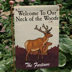 Our Neck of the Woods Personalized Garden Flag