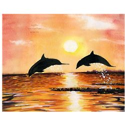 Playful Porpoise I Personalized Print
