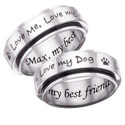 Stainless Steel Love Me, Love My Dog Engraved Pet Spinner Band