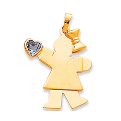 14k Yellow Gold Girl December Blue Birthstone Pendant