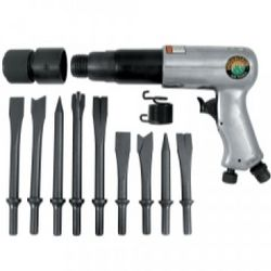 250mm Long Barrel Air Hammer with 9-Piece Chisel Set