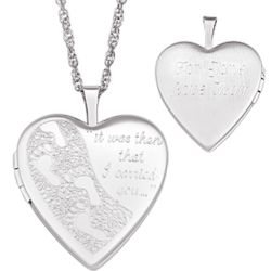 Sterling Silver Engraved Footprints Locket