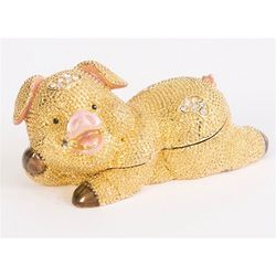 Swarovski Bejeweled Golden Pig Trinket Box