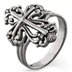 Sterling Silver Ornate Cross Ring
