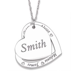 Sterling Silver Family Name Layered Hearts Necklace