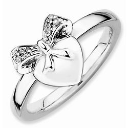 Diamond Bow and Heart Stackable Ring