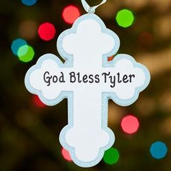 Personalized God Bless Cross Ornament