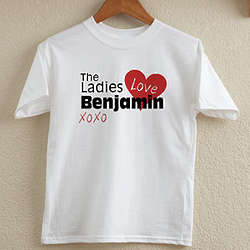 Boy's Personalized Ladies Love Me T-Shirt