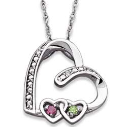 Sterling Silver Birthstone Double Heart Slider Necklace