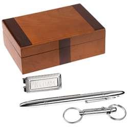 Engraved Chrome Pen, Key Ring and Money Clip Set