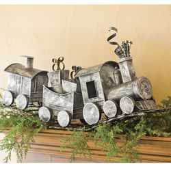 Holiday Metal Train Home Decor