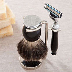 Monogrammed Shaving Brush and Razor Set