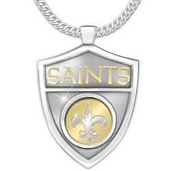 Ultimate Fan New Orleans Saints Spinning Shield Steel Necklace