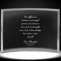 Personalized Leadership Curved Glass Award