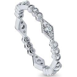 Cubic Zirconia Silver Art Deco Eternity Ring