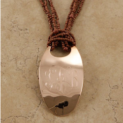 Monogrammed Oval Copper Pendant Necklace for Her