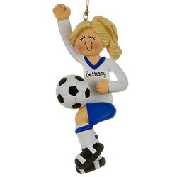 Personalized Female Soccer Player in a Blue Uniform Ornament