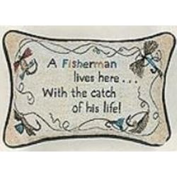 A Fisherman Lives Here Pillow