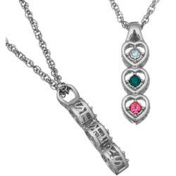 Platinum Plated Sisters Birthstone Hearts Pendant