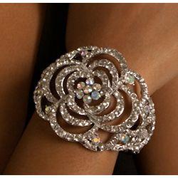 Clear Rhinestone Flower Bracelet