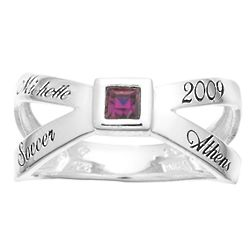 Women's Sterling Silver Cross Over Square Birthstone Class Ring