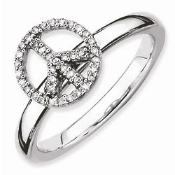 Diamond Peace Sign Stackable Ring