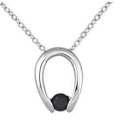 Black Diamond Horseshoe Pendant in White Gold