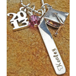 Personalized Graduation Charm Sterling Silver Necklace