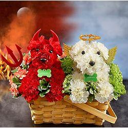 Devil Dog Angel Dog Basket of Flowers