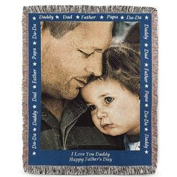 Dad Photo Blanket with Blue Border