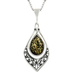 Green Baltic Amber Floral Marquise Silver Necklace