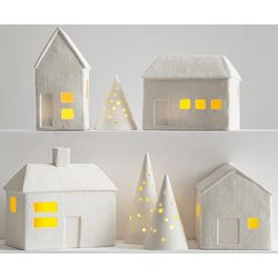 Porcelain Luminaria Village Set