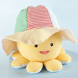 Baby Sunhat and Plush Octopus Rattle Gift Set