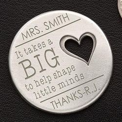 Personalized Teacher's Heart Pocket Token