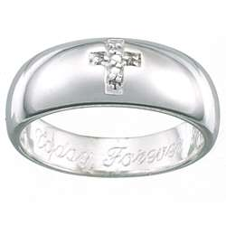 Sterling Silver Pave Diamond Cross Message Ring