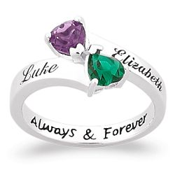 Sterling Silver Couple's Name and Birthstone Hearts Ring